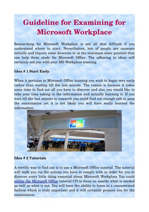 Guideline for Examining for Microsoft Workplace
