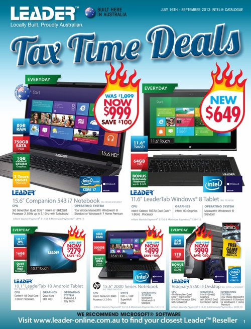 "Leader Computers ""Tax Time Deals"" Catalogue 2013"