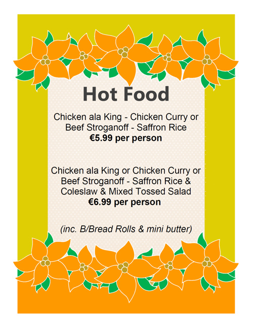 Mac's Catering Menu
