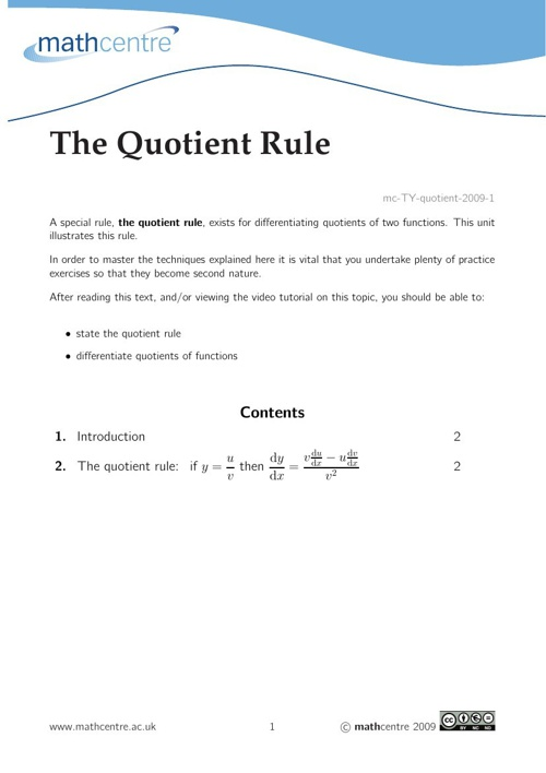 Quotient rule[1]