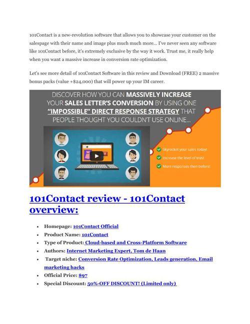 101Contact Review - $24,700 BONUS & DISCOUNT
