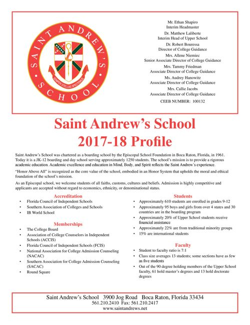 Saint Andrew's School 2017-2018 Profile