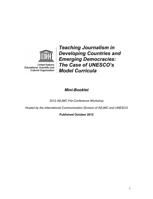 UNESCO Model Curricula