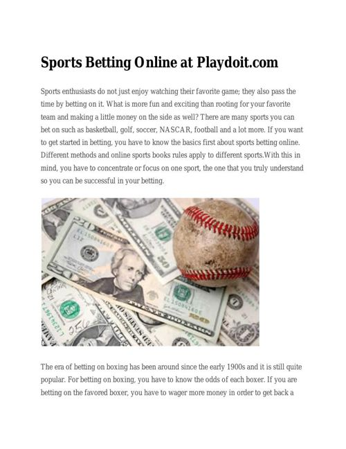 Sports Betting Online at
