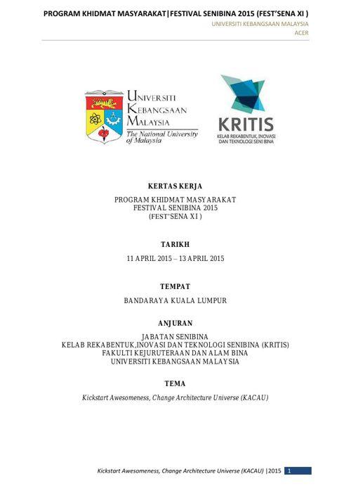 KERTAS KERJA FESTSENA XI 2015 II