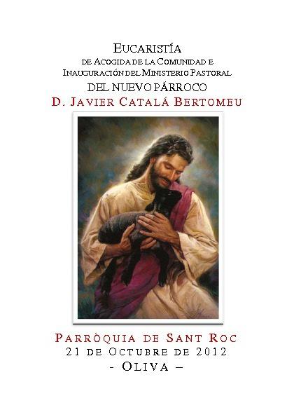 Llibret inauguració Ministeri Pastoral Rector de Sant Roc-Oliva