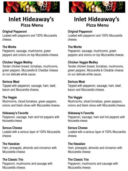 Inlet Hideaway's Pizza Menu