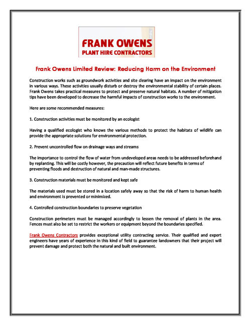 Frank Owens Limited Review: Reducing Harm on the Environment
