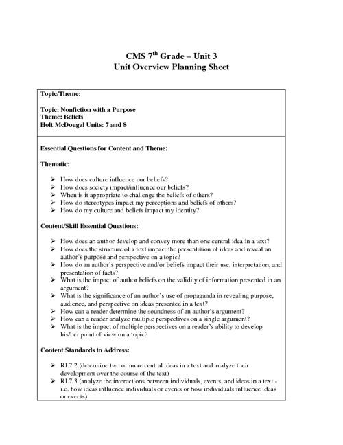 Unit 3 curriculum guide