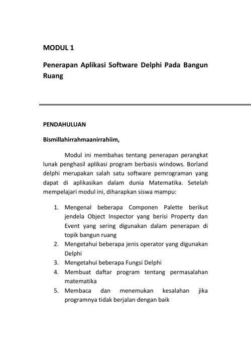 Penerapan Aplikasi Software Delphi Pada Bangun Ruang