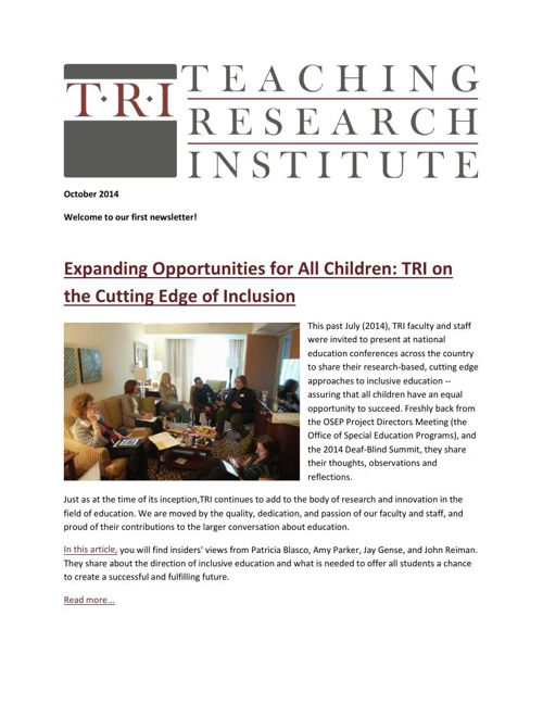 Teaching Research Institute: October 2014 Newsletter