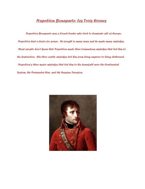 Napoleon Bonaparte Les Trois Erruers