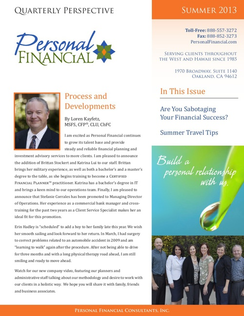 Summer 2013 Newsletter