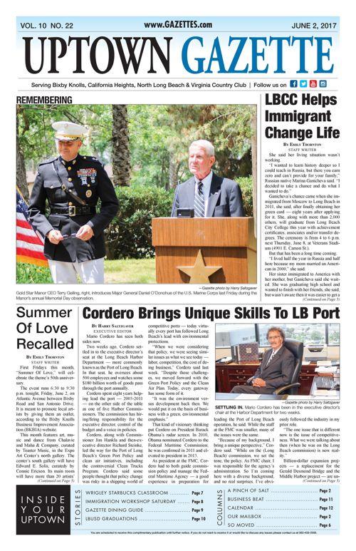Uptown Gazette     June 2, 2017