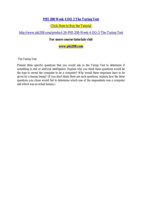 PHI 208 Week 4 DQ 2 The Turing Test