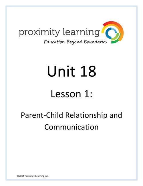 CHN 3 Unit 18 Lesson 1: Parent-Child Relationship