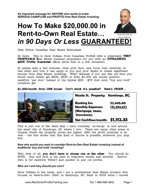 Rent to Own Profits Training