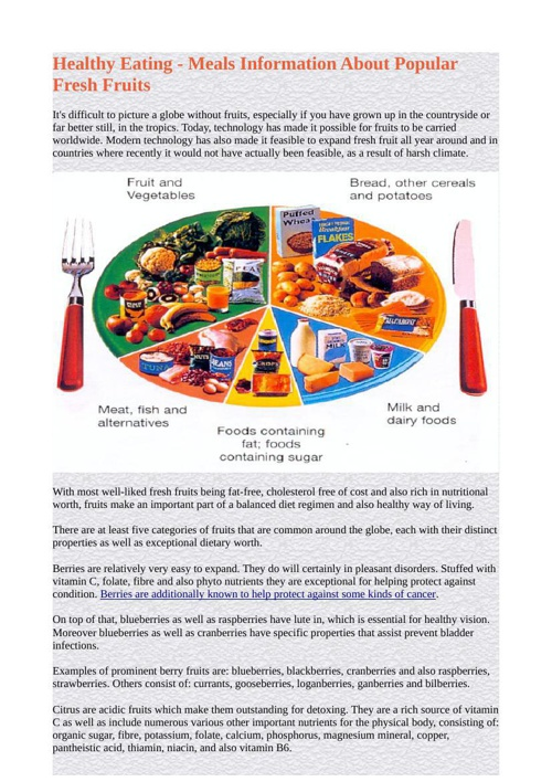 Healthy Eating - Meals Information About Popular Fresh Fruits