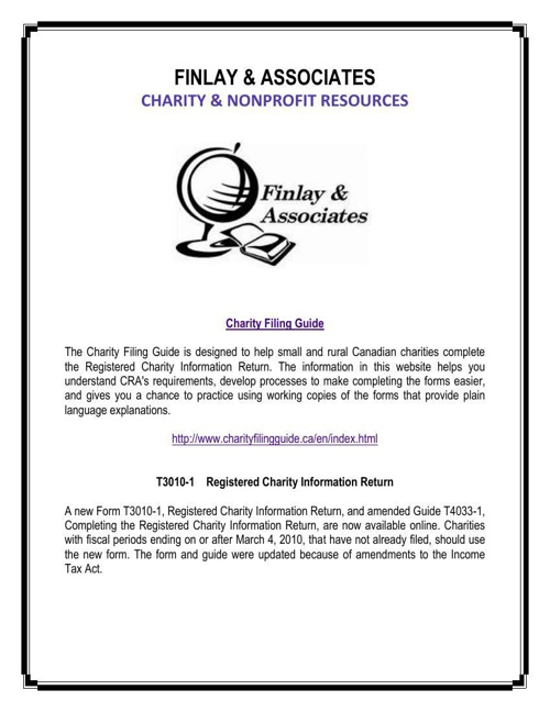 Finlay & Associates on Charity & Nonprofit Resources