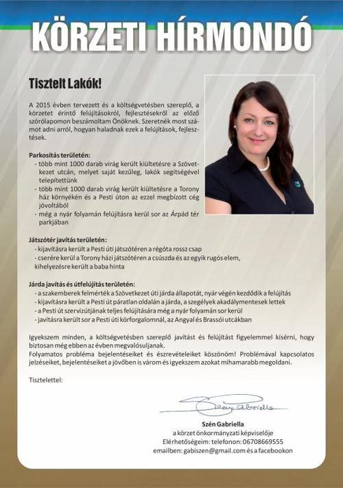 Körzeti Hírmondó, Szén Gabriella 2015/1