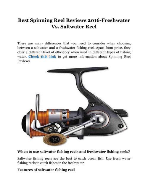 Best Spinning Reel Reviews 2016-Freshwater Vs.Saltwater Reel