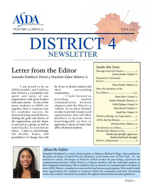 District 4 ASDA Newsletter - Fall 2014