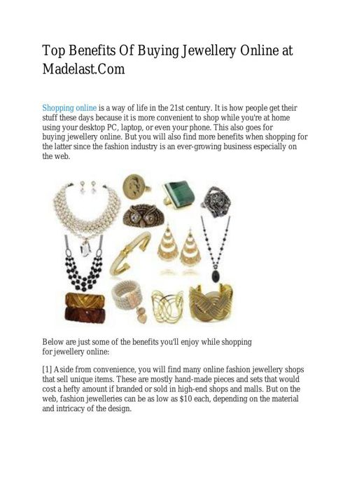 Top Benefits Of Buying Jewellery Online at Madelast.Com