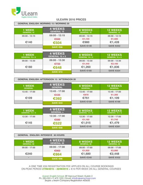 ULEARN ENGLISH SCHOOL PRICES 2016