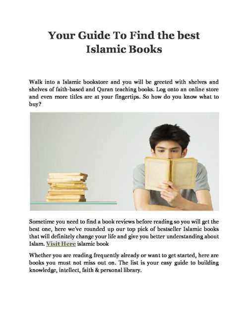 Your Guide To Find the best Islamic Books