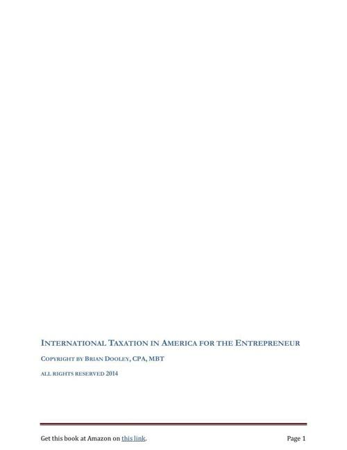 INTERNATIONAL TAXATION IN AMERICA FOR THE ENTREPRENEUR