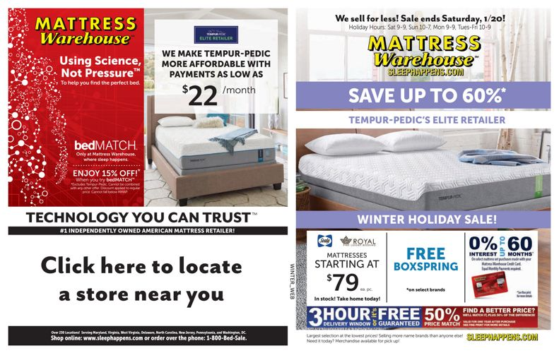 Mattress Warehouse Winter Holiday Sale