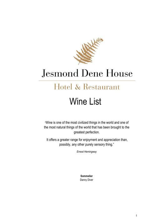 JDH Wine List