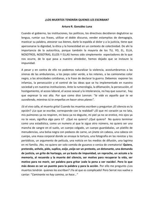 LOS MUERTOS TENDRÁN QUIENES LES ESCRIBAN