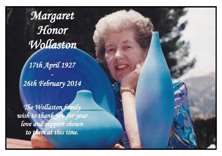 Memorial Card for Margaret Honor Wollaston