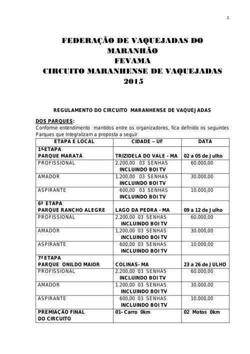 Regulamento Circuito Maranhense de Vaquejada 2015