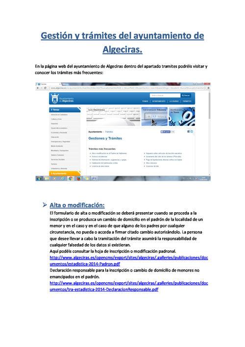 Gestión y tramites del ayuntamiento de Algeciras