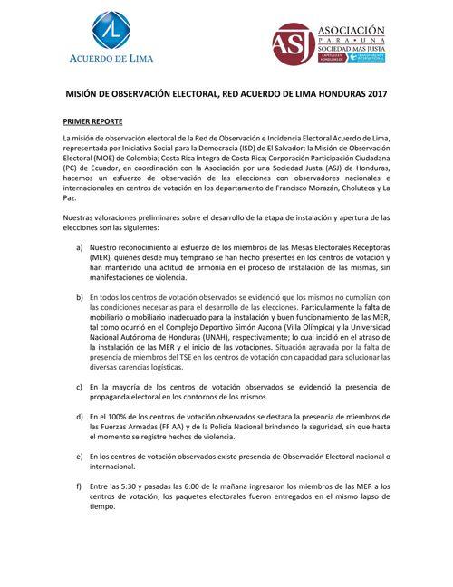 Primer Informe Misión de Observación Electoral