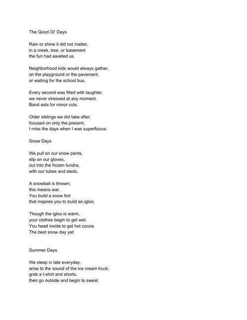 Free Verse Poems