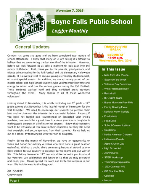 November 7, 2016 Logger Monthly