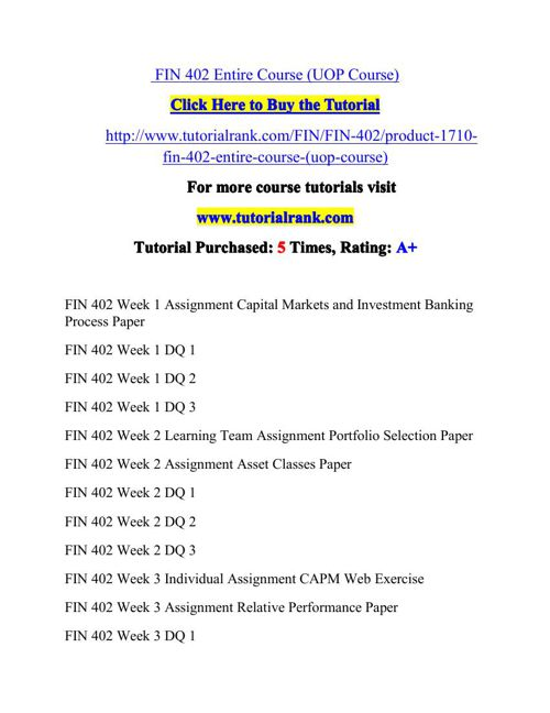 FIN 402 Potential Instructors / tutorialrank.com