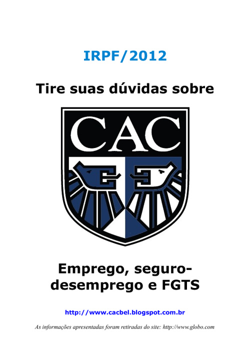 IR 2012 - Emprego, seguro-desemprego e FGTS