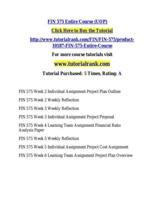 FIN 575 learning consultant / tutorialrank.com