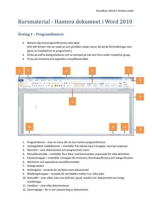 Kursmaterial - Hantera dokument