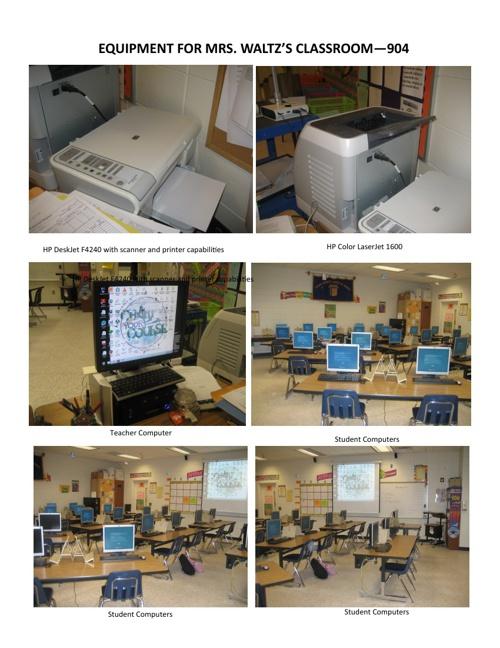 Equipment for Mrs. Waltz's Computer Classroom