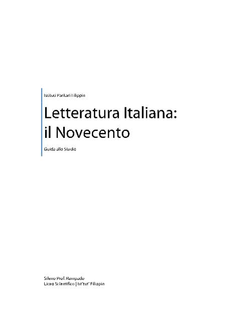 Letteratura Italiana: Il Novecento