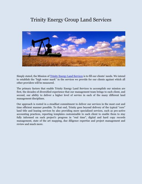 Trinity Energy Group Land Services