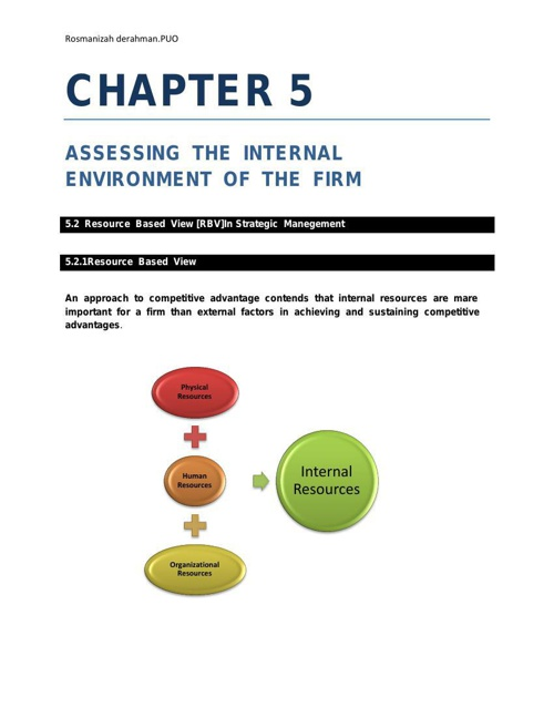 PB702-CHAPTER 5: ASSESSING THE INTERNAL ENV. OF THE FIRM