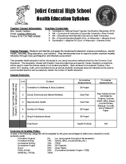 2012-2013 Health Education Course Syllabus