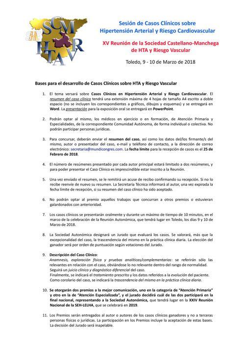 Bases Pres Casos Clínicos XV Reunion SCMHTARV Toledo Marzo 2018