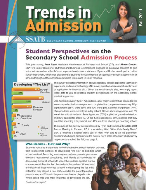 Trends in Admission: The Student Perspective